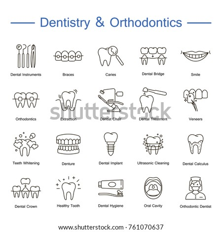 Dentistry, orthodontics outline icons. Thin line vector icons of dental clinic services, stomatology, dentistry, orthodontics, oral health care and hygiene, dental instruments. Editable stroke.