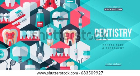 Dentistry tooth care creative banner. Vector illustration. Flat design dental icons in hexagons. Concept for web banners and promotional materials. Dentist Tools and Equipment.