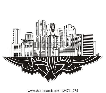 Denver, CO Skyline. Black and white vector illustration EPS 8.