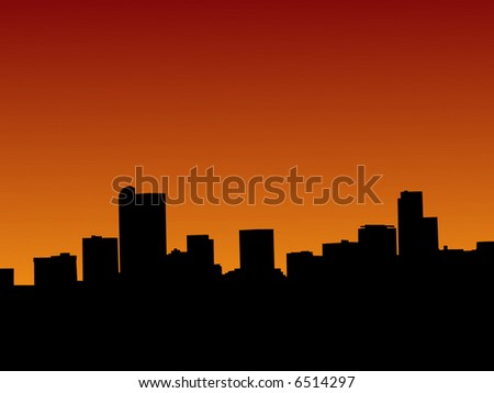 Denver skyline at sunset with beautiful sky