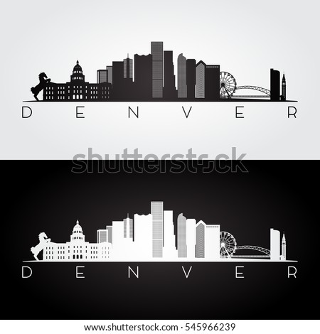 Denver USA skyline and landmarks silhouette, black and white design, vector illustration.
