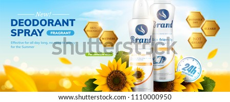 Deodorant spray ads with sunflower fragrance on sparkling bokeh background in 3d illustration