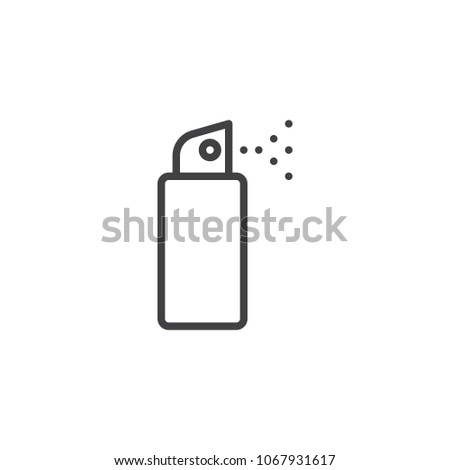 Deodorant spray outline icon. linear style sign for mobile concept and web design. Spray antiperspirant simple line vector icon. Symbol, logo illustration. Pixel perfect vector graphics