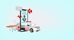 Department emergency medical service call or online by mobile phone. concept help by paramedic team of hospital with professional staff saving lives with stretcher into ambulance urgent car.