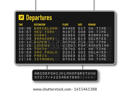 Departure and arrival board, airline scoreboard with digital led letters. Flight information display system in airport. Airport style alphabet with numbers. Vector ストックフォト ©