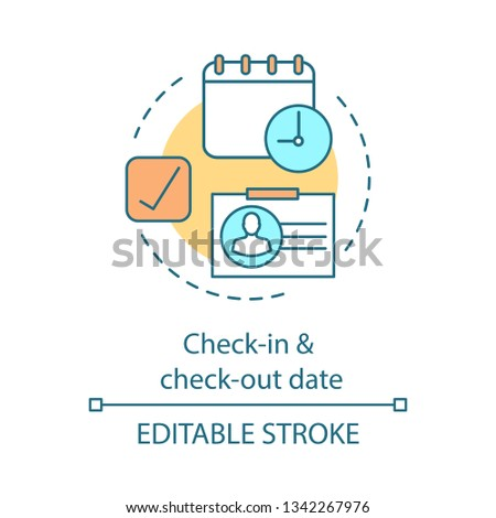 Departure and arrival date concept icon. Travel scheduling, calendar. Appointment planning. Key card. Hotel booking idea thin line illustration. Vector isolated outline drawing. Editable stroke