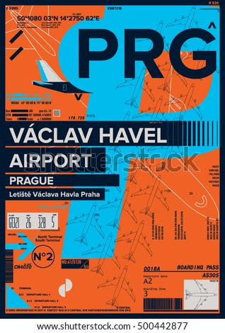 Departure and Arrival sign at Vaclav Havel Airport Stock Vector Illustration