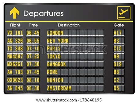 Departure board - destination airports. Vector illustration