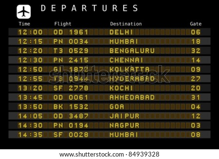 Departure board - destination airports. Vector illustration - font for easy editing your own messages is outside the viewing area. India destinations: Delhi, Mumbai, Bengaluru and other cities.