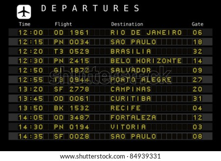 Departure board - destination airports. Vector illustration - font for easy editing your own messages is outside the viewing area. Brazil destinations: Rio, Porto Alegre, Belo Horizonte and other