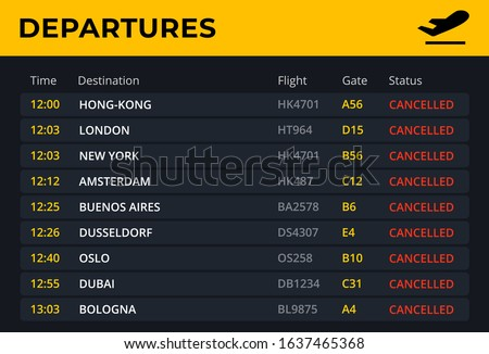 Departure board with all flights cancelled status. Airport schedule template with all flight info: time, destination, gate. Electronic board concept for railway and bus station . Vector illustration.