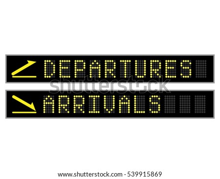 Departures and arrivals LED display font signs
