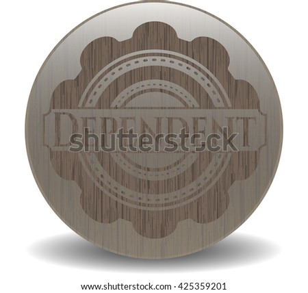 Dependent badge with wood background