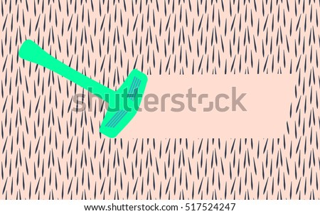 Shutterstock Depilation by shaver. Vector illustration of epilation or depilation procedure. Hair removal. Background. Empty space for text among the hairy texture. Shaving device making free space for your text.