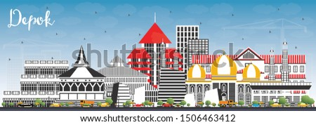 Depok Indonesia City Skyline with Color Buildings and Blue Sky. Vector Illustration. Business Travel and Concept with Modern Architecture. Depok Cityscape with Landmarks.