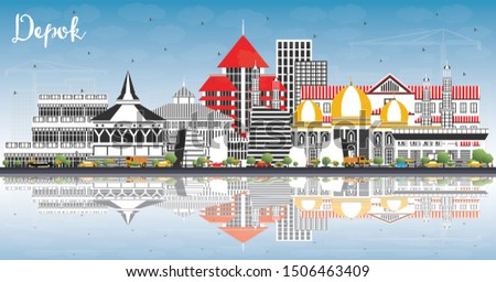 Depok Indonesia City Skyline with Color Buildings, Blue Sky and Reflections. Vector Illustration. Business Travel and Concept with Modern Architecture. Depok Cityscape with Landmarks.
