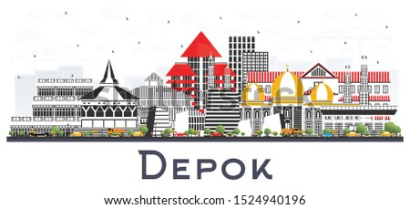 Depok Indonesia City Skyline with Color Buildings Isolated on White. Vector Illustration. Business Travel and Concept with Modern Architecture. Depok Cityscape with Landmarks.