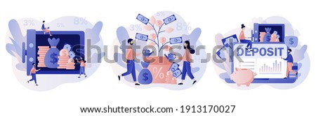 Deposit concept. Longterm money saving finance. Tiny people put money in bank safe with dollars. Bank account, banking, bank security, safety, money tree.Modern flat cartoon style. Vector illustration