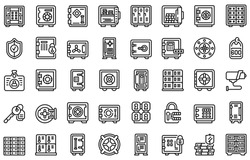 Deposit room icons set. Outline set of deposit room vector icons for web design isolated on white background