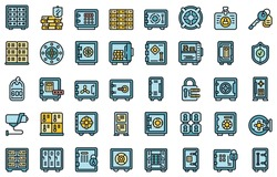 Deposit room icons set. Outline set of deposit room vector icons thin line color flat isolated on white