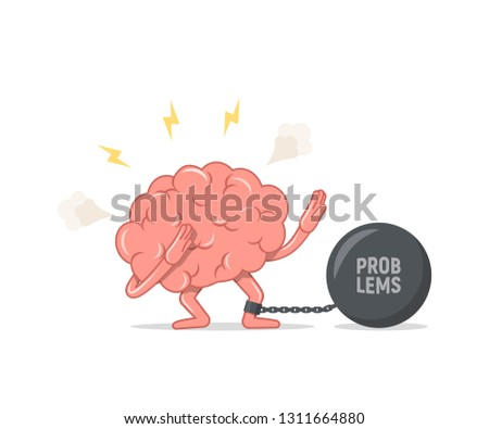 Depressed brain chained and shackled a iron prison ball. Concept of stress and problems. Vector illustration in flat style.