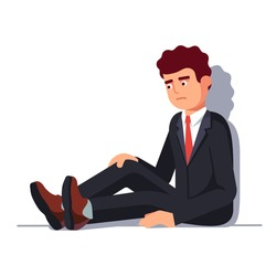 Depressed business man sitting in despair leaning on wall. Entrepreneur sad face expression. Flat style vector illustration isolated on white background.
