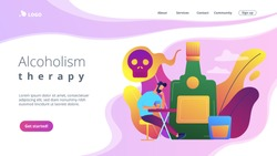 Depressed drunk man sitting and drinking alcohol at big bottle with skull. Drinking alcohol, alcohol addiction, alcoholism therapy concept. Website vibrant violet landing web page template.