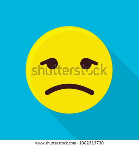 Depressed emoticon icon. Flat illustration of depressed emoticon vector icon for web