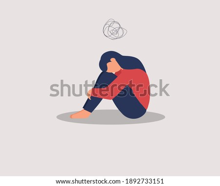 Depressed female character sitting on floor and hugging knees, above scribble. Mental health concept. Depression, bipolar disorder, dementia, obsessive compulsive, post traumatic stress disorder. Сток-фото ©
