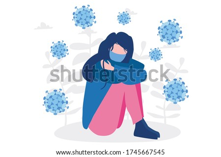 Depressed girl alone. Solitude from social distancing COVID-19 , isolated stay home alone