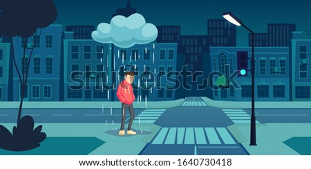Depressed man stand under cloud with falling rain on empty night city street near crossroad with dark buildings and glowing lamp. Depression, mental problems, loneliness Cartoon vector illustration