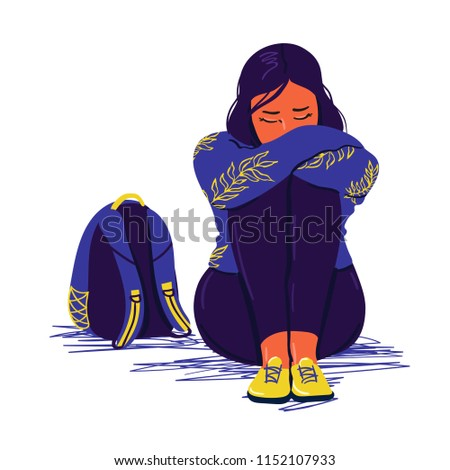 Depressed sad girl sitting on the floor. Depressed teenager. Unhappy sad woman and stressed student. Creative vector illustration.