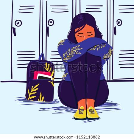 Depressed sad girl sitting on the floor. Depressed teenager. Unhappy sad woman and stressed student. Creative vector illustration.