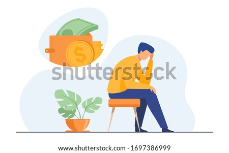 Depressed sad man thinking over financial problems and debts. Businessman broke, needing money, having unpaid loan. Vector illustration for bankruptcy, loss, crisis, trouble concept