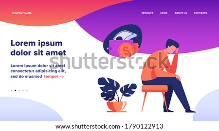 Depressed sad man thinking over financial problems and debts. Businessman broke, needing money, having unpaid loan. Vector illustration for bankruptcy, loss, crisis, trouble concept Stock photo ©