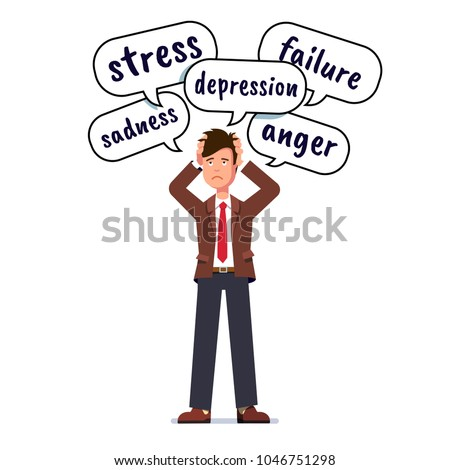 Depressed & stressed business man holding head with both hands. Stress, depression, failure, anger and sadness thoughts in speech bubbles over business person head. Flat character vector illustration