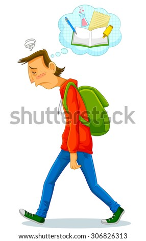 depressed student walking to