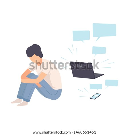 Depressed Teen Boy Sitting on Floor with Laptop Surrounded By Message Bubbles, Cyber Bullying Vector Illustration
