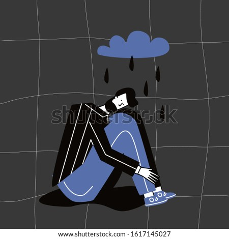 Depressed unhappy man. Sad crying lonely young boy sitting on floor.  Female character in sorrow, depression, sadness. Mental disorder or illness. Colorful vector illustration in flat cartoon style