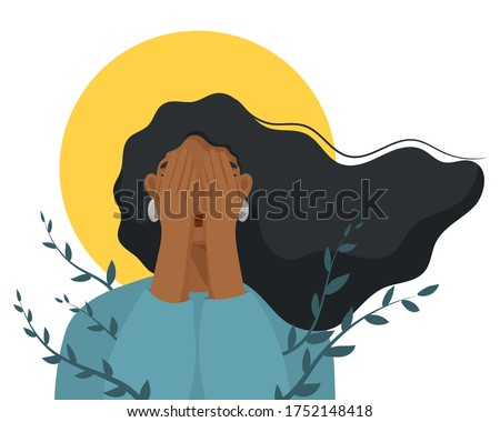 Depressed woman cover her face with hands. Concept of mental disorder, sorrow and depression.  Physical and emotional violence against women. Vector illustration.