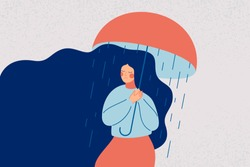 Depressed woman holds an open umbrella, which does not save her from the rain. Sad girl is in a stressful state. Colorful vector illustration in flat cartoon style