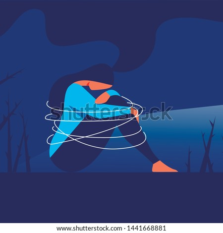 Depressed Woman Sits with Arms Wrapped Around Knees. Girl Depression. Psychological Help. Vector Illustration. Training for Women. Depressed State. Woman in Blue T-Shirt is Sitting on Floor.