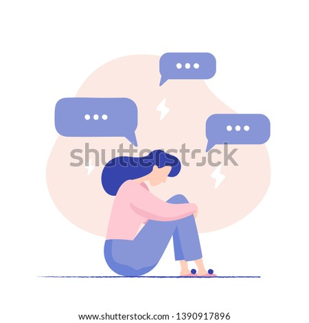 Depressed woman sitting on the floor surrounded by message bubbles and lightnings. Cyber bullying. Unhappy female character receiving pop up messages. Problems in social networks. Vector illustration.