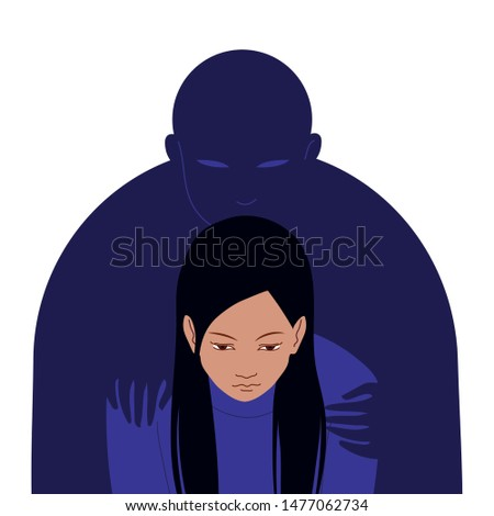 Depressed woman with lowered head and dark silhouette of man standing behind and putting his hands on her shoulders. Concept of depression or mental disorder. Flat vector illustration.