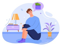 Depressed young male character crying over financial problems and debts. Concept of businessman broke, needing money, having unpaid loan. Bankruptcy, loss, crisis. Flat cartoon vector illustration