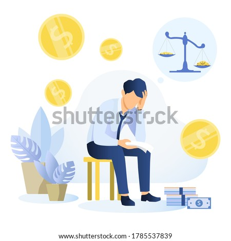 Depressed young man sitting on a chair reading a document and thinking about finding money for paying bills. Financial problems and bankruptcy concept. Flat vector illustration.