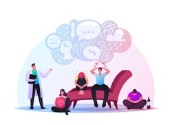 Depressed Young Men and Women Suffering of Depression Anxiety Problem Feeling Frustrated. Anxious Characters Sitting Sad or Desperate at Psychologist Doctor Cabinet. Cartoon People Vector Illustration