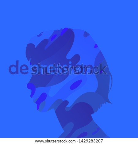 Depressed young woman wavy concept. Loss of self identity, fatigue, mental disorder or psychological problem. illustration in ultramarine colors