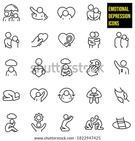 Depression and Anxiety Thin Line Icons -  stock illustration.an arm around the shoulder of an emotionally depressed person, an awareness ribbon, a heart to represent love, a hug, postpartum depression