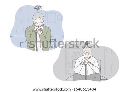 Depression, frustration, loneliness, nursing home set concept. Frustrated old man sits on armchair feels lonely. Depressed granny pensioner with cane sits on couch in nursing home. Simple flat vector